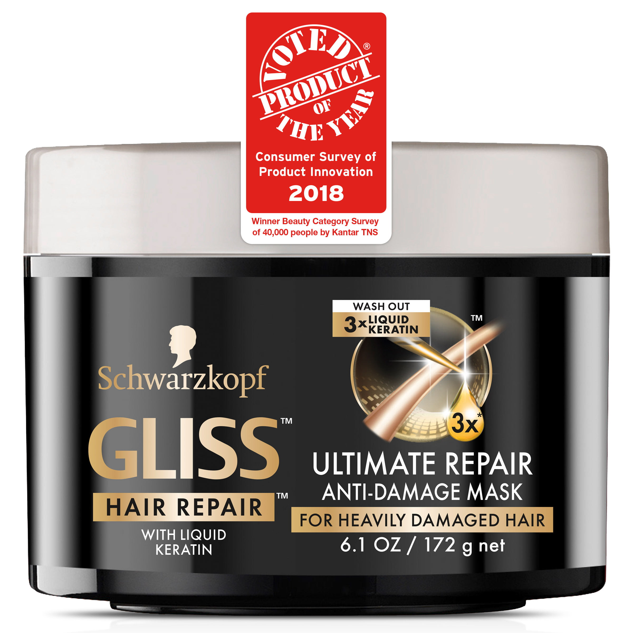 Schwarzkopf Gliss Hair Repair Ultimate Repair Anti Damage Mask For Heavily Damaged Hair - 6.1 oz
