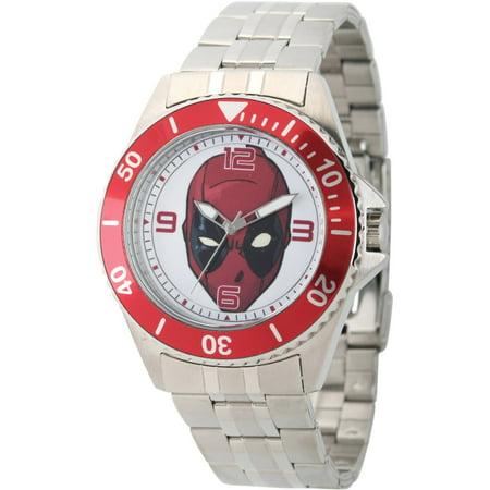 Marvel's Deadpool Men's Honor Stainless Steel Watch, Red Bezel, Stainless Steel Bracelet