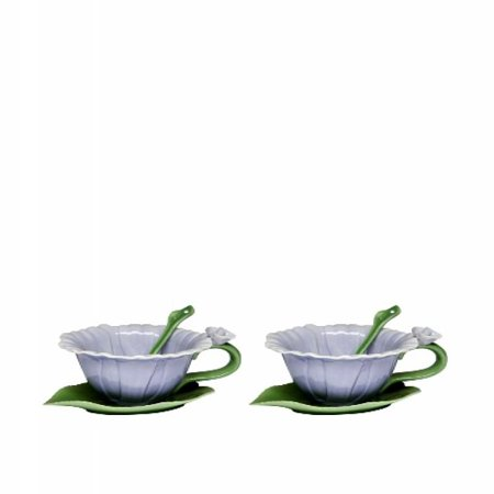 CG SS-CG-10396 6 Piece Blue Dahlia Set with 2 Cups, Saucers & Spoon Collectible Cup & Saucer Spoon