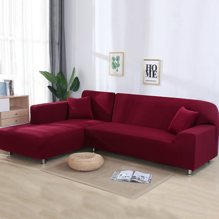 L-shaped Pillow (Sofa Covers for L Shape, 2pcs Polyester Fabric Stretch Slipcovers + 2pcs Pillow Covers for Sectional sofa L-shape Couch - Solid Color and Pattern (67 to 87 Inches) )