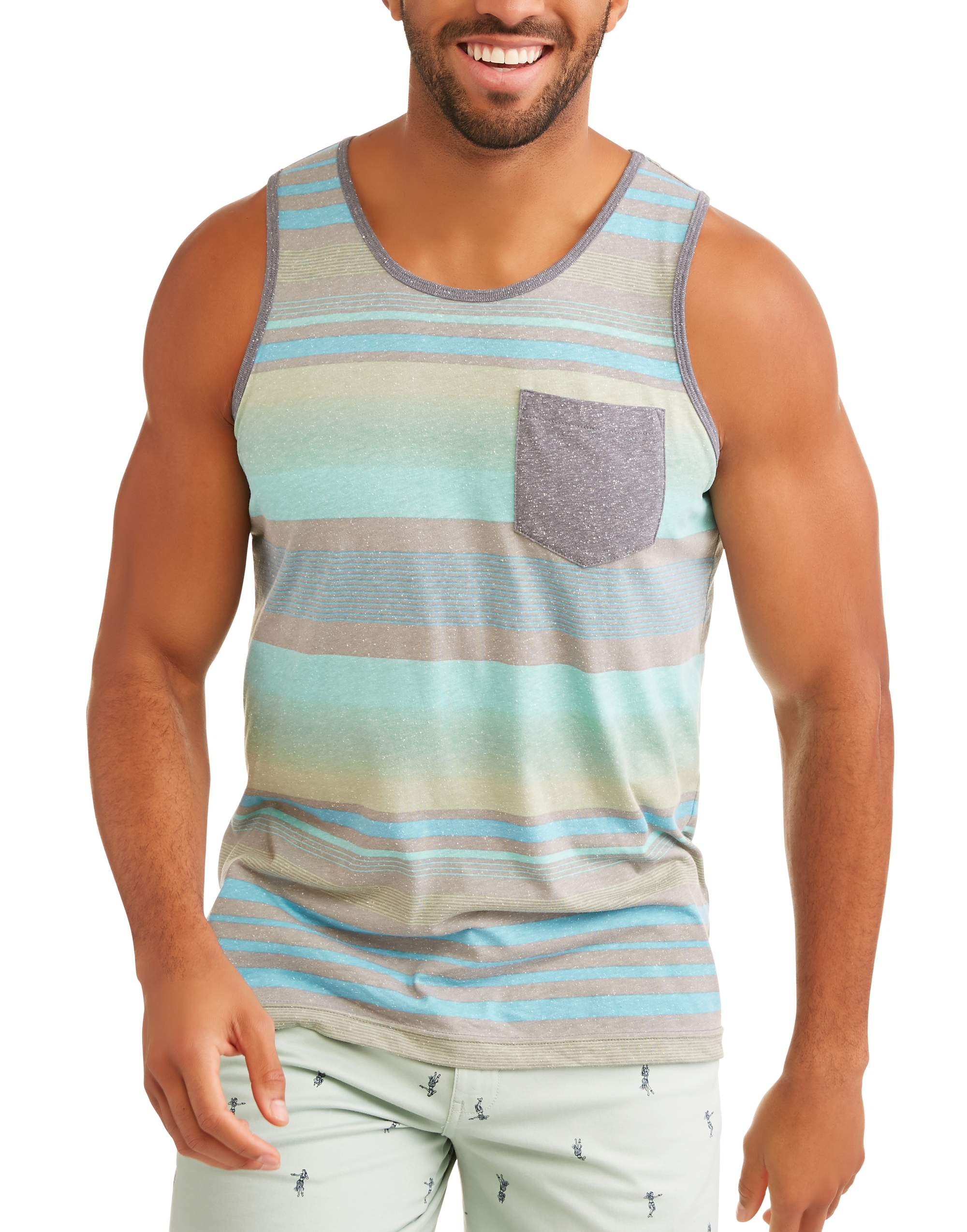 Big Men's Stripe Tank Top With Pocket