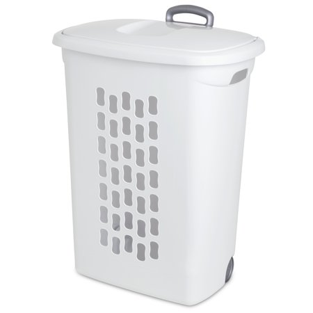 Sterilite Wheeled Laundry Hamper, White (Available in Case of 3 or Single  Unit)
