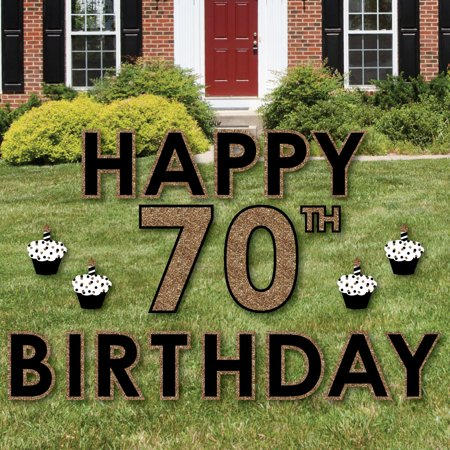 Adult 70th Birthday - Gold - Yard Sign Outdoor Lawn Decorations - Happy Birthday Yard Signs - 70th Decorations