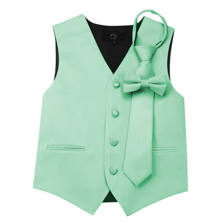Italian Design, Boy's Tuxedo Vest, Zipper Tie & Bow-Tie Set - Mint