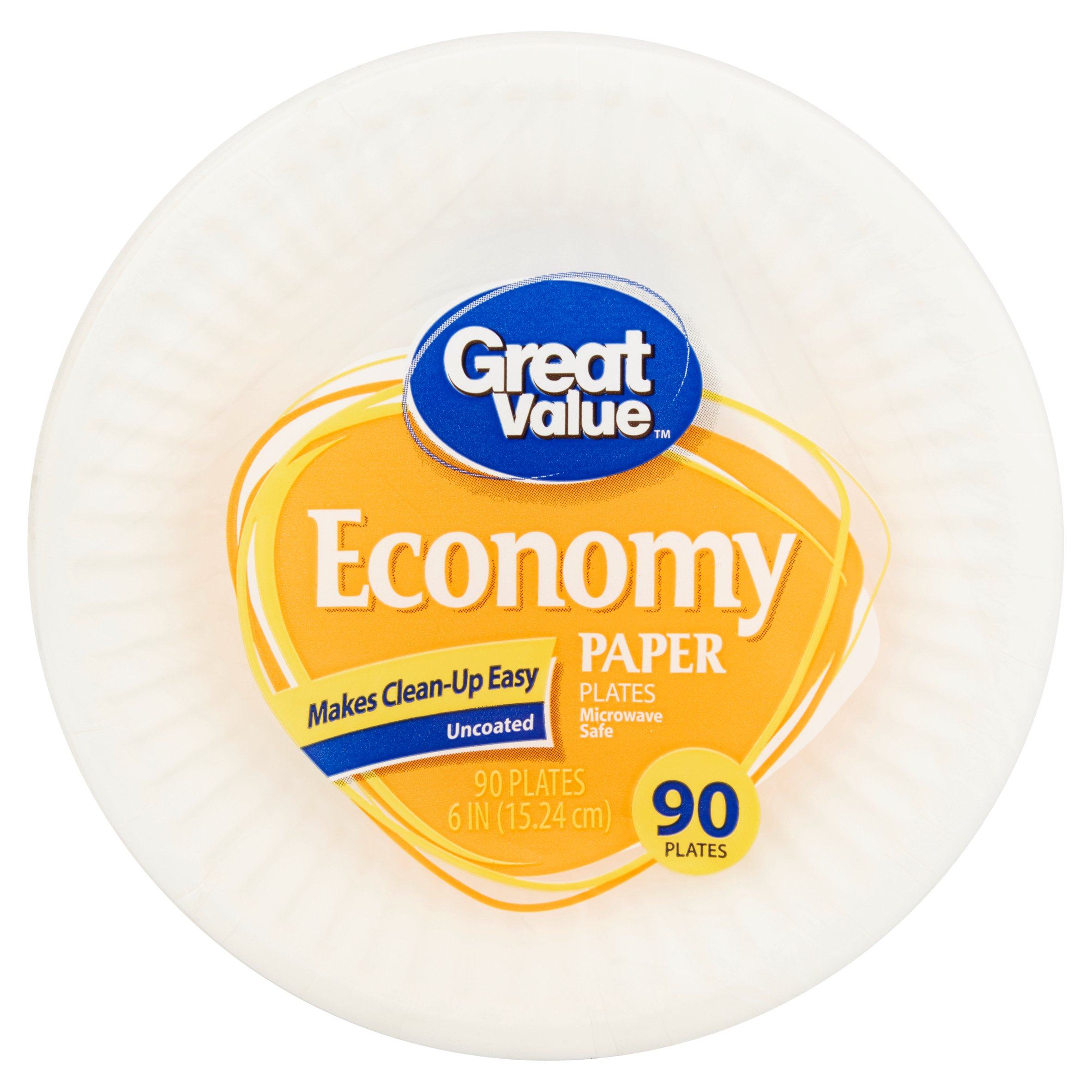 """Great Value Economy Paper Snack/Dessert Plates, 6"""", 90 Count"""