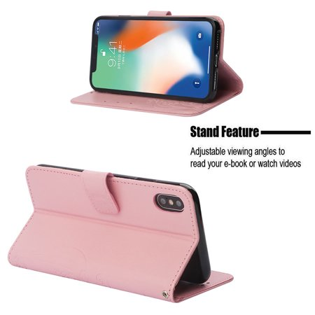 Ustyle Replacement for iPhone Xs Max Rhinestone Case Flip Wallet Cover Phone Holder Elegant Solid PU Leather Cover - image 3 of 9