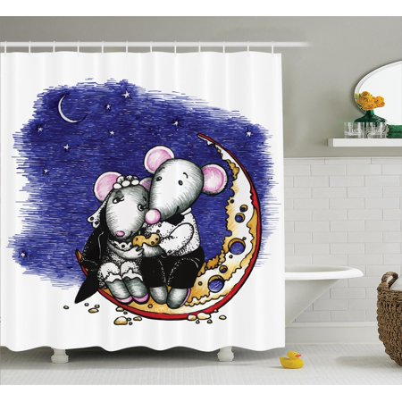 Animal Decor  Mouse Couple Sitting On The Cheese Flavoured Moon Bride And Groom Valentines Wedding Theme, Bathroom Accessories, 69W X 84L Inches Extra Long, By Ambesonne