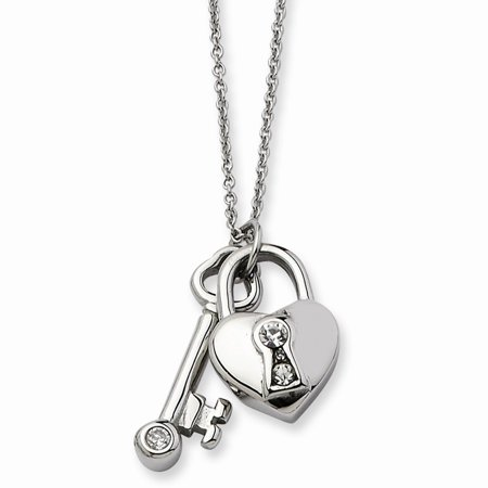 Gold Polished Lock Charm - ICE CARATS Stainless Steel Heart Lock Key Withcz 2 Inch Extension Chain Necklace Pendant Charm S/love Fashion Jewelry Ideal Gifts For Women Gift Set From Heart