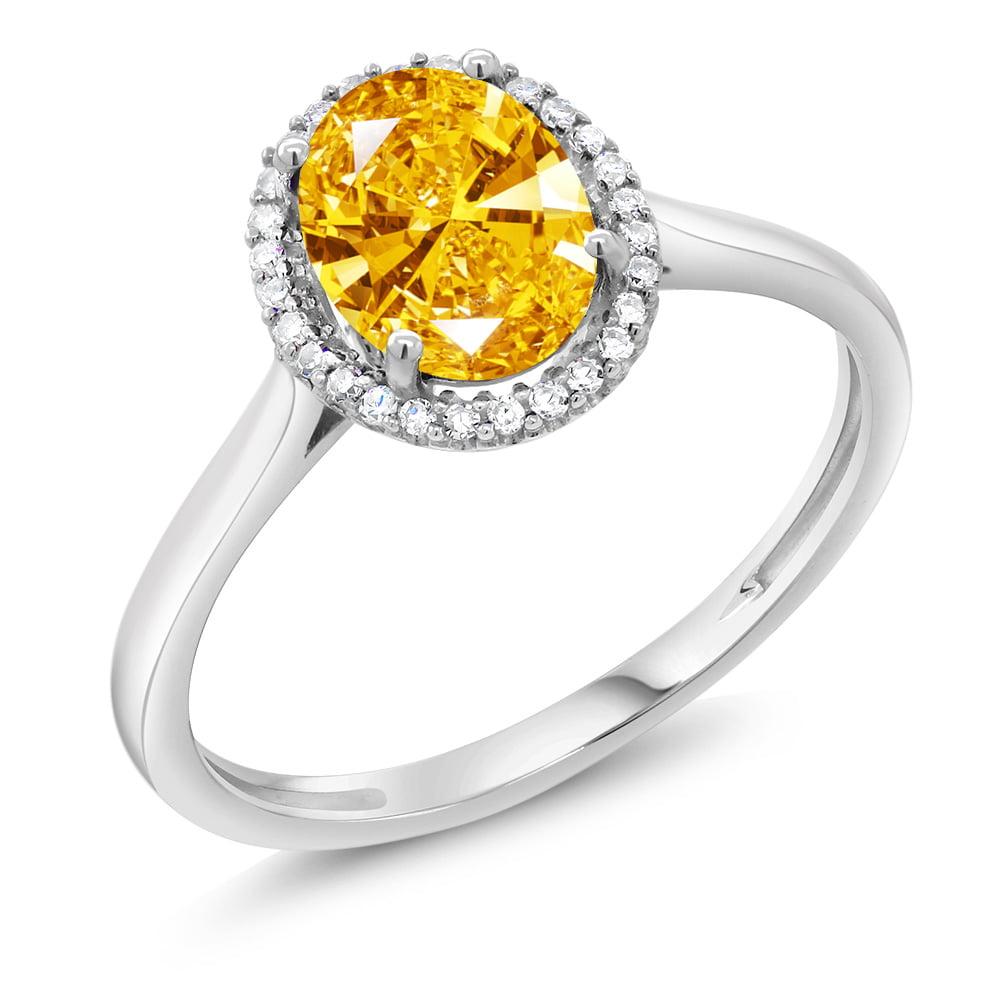 10K White Gold Diamond Ring Made With Golden Yellow Swarovski Zirconia