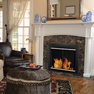 pleasant hearth alsip cabinet fireplace screen and glass doors black and sunlight nickel