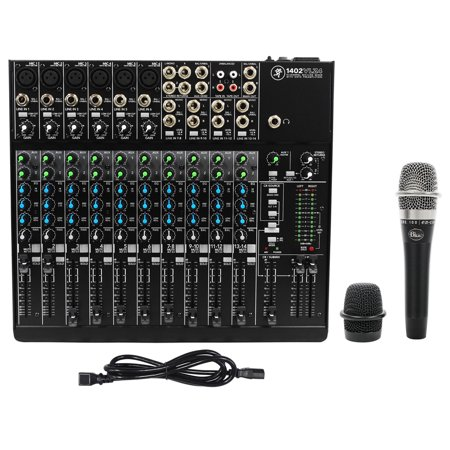 Mackie 1402VLZ4 14-ch Compact Analog Low-Noise Mixer w/ 6 ONYX Preamps+Blue Mic