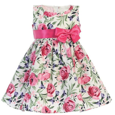 f37e5d05e Sophias Style - Girls Fuchsia Cotton Floral Print Bow Easter Dress ...