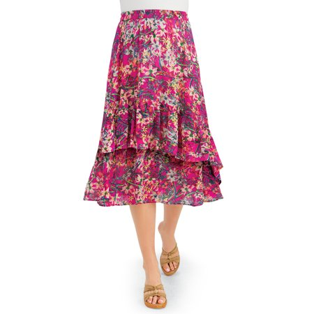 Tiered Ruffle Floral Print Woven Knee Length Midi Skirt