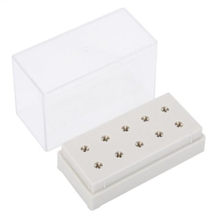 10 Holes Nail Drill Bits Holder Display Standing With Cover Storage Box Nail Art Equipment Grinding Heads Displayer Manicure
