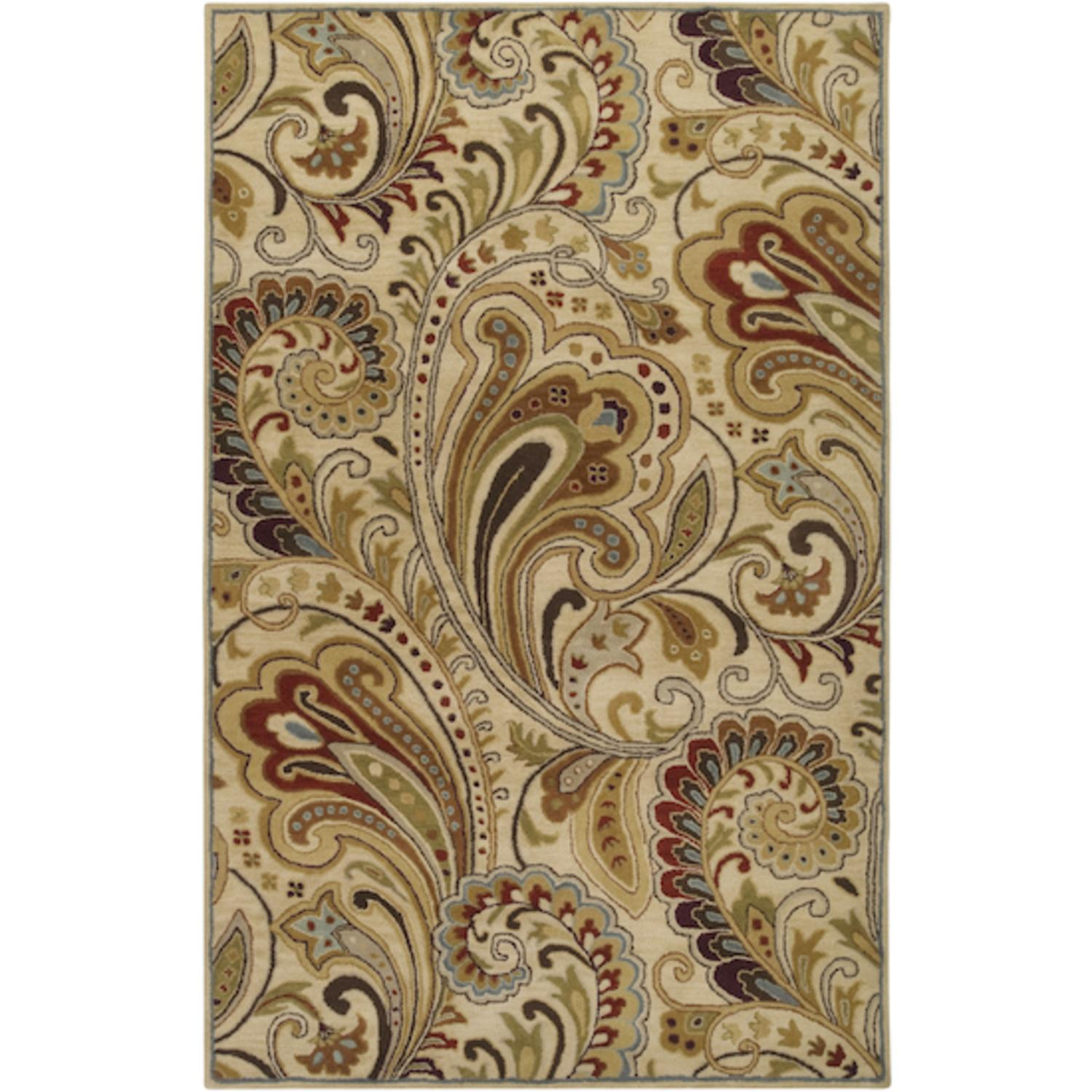 5' x 8' Kangaroo Paw Golden Brown and Raisin Red Wool Area Throw Rug