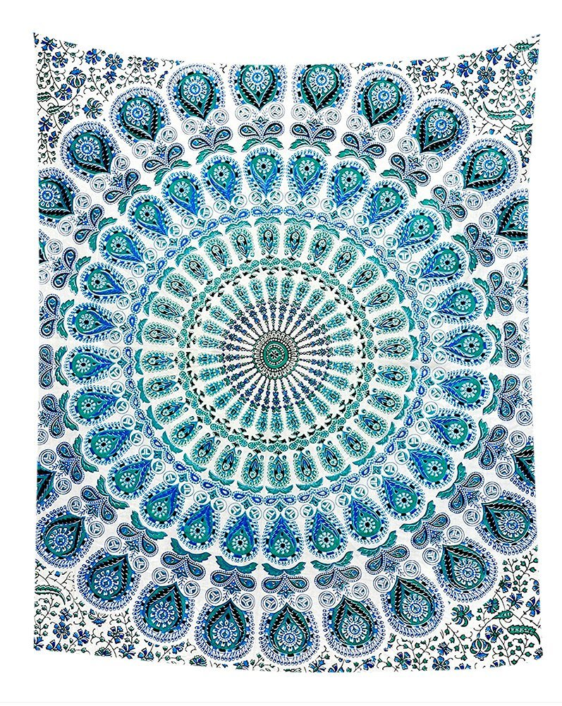 GCKG Indian Mandala Blue Peacock Bedroom Living Room Art Wall Hanging Tapestry Size 90x60 inches by GCKG
