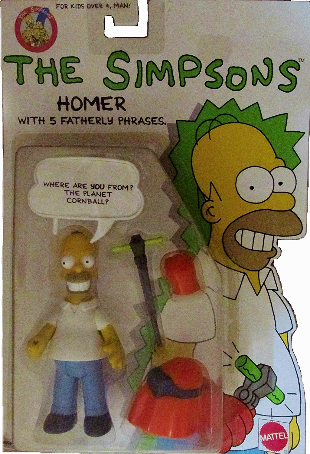 The Simpsons-Homer with 5 Fatherly Phrases 1990 Package, Figure comes with 5... by