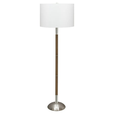 "Kira Home Watson 62.5"" LED Floor Lamp (10.5W LED, / Eco Friendly) + Brown Body, White Shade, Brushed Nickel"