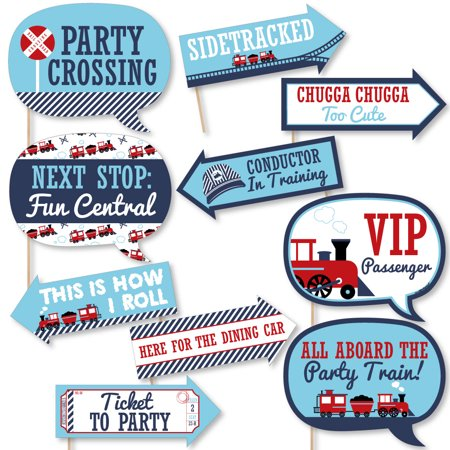 Funny Railroad Party Crossing - Steam Train Birthday Party or Baby Shower Photo Booth Props Kit - 10 Piece (Train Party Supplies)