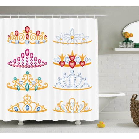 Teen Girls Decor Shower Curtain Set Golden Tiaras With Shiny Gemstones Jewelry Collection Cartoon Style