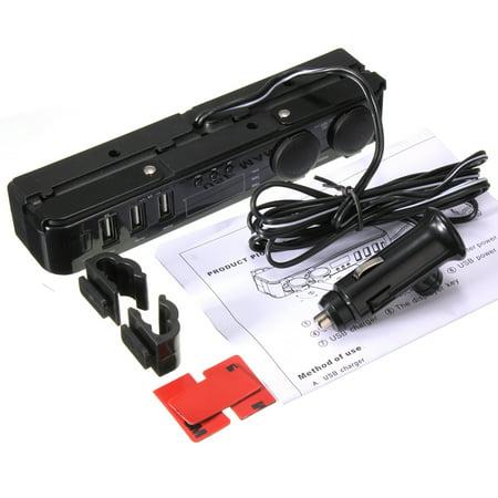 3 In1 12/24V Car Cigarette Lighter w/ 3 USB Charger LED Volt Clock Temperature - image 9 de 9