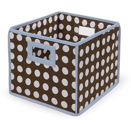 Badger Basket - Folding Hamper/Storage Bin, Brown Polka Dots with Blue Trim