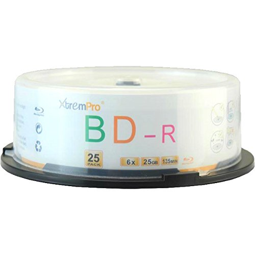 XtremPro BD-R 6X 25GB 135Min Blu-Ray 25 Pack Blank Discs in Spindle - 11051