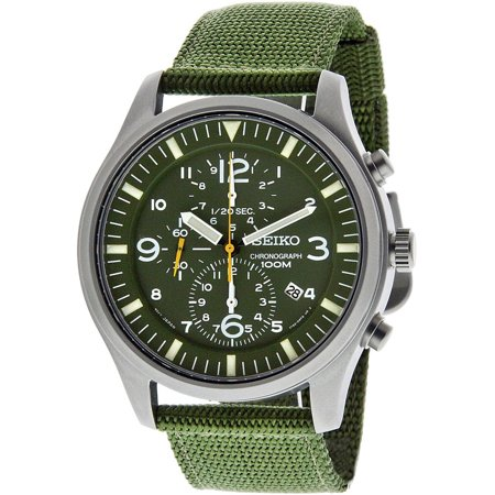 Men's Chronograph Military Green Dial Nylon Strap Watch SNDA27P1 - Hour Dial Green Nylon Strap