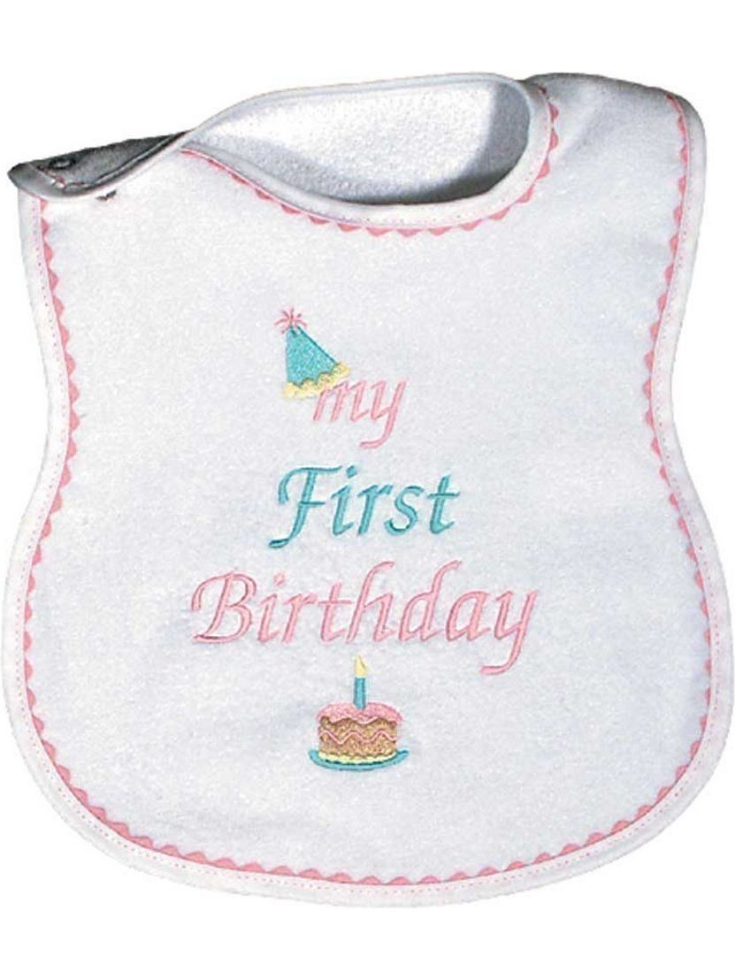 "Baby Girls ""My First Birthday"" Embroidered Bib, Pink by Raindrops"