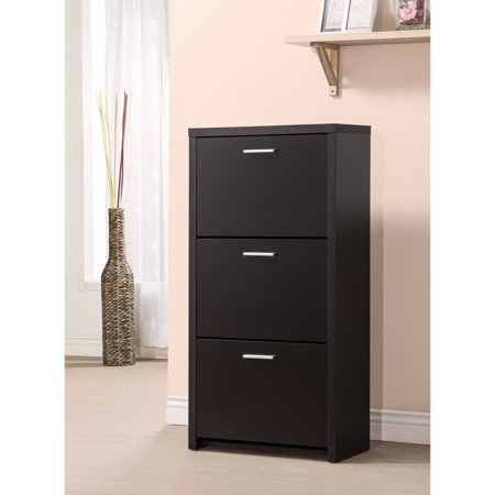 Sophisticated Wooden Shoe Cabinet with 3 Drawers, Black Wooden Shoe Cabinet