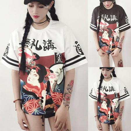 Women Genki Japanese Girl Street Style Exaggerated Loose Print T-shirt Student Teenager Harajuku Letter Top Pano