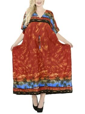 La Leela Caftan Soft Smooth Likre Dress Women Coverup Beachwear Loose Plus Pink