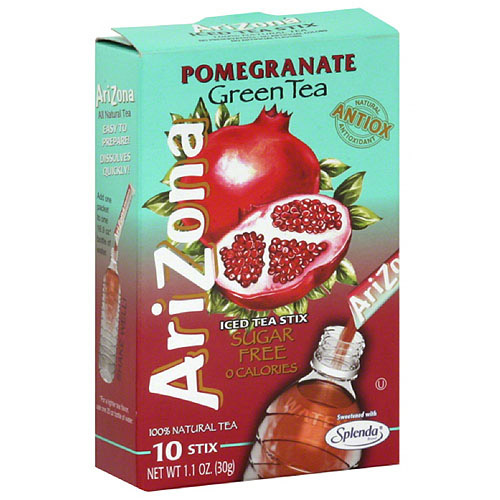 AriZona Sugar Free Pomegranate Green Tea Iced Tea Stix, 10 count, (Pack of 12)