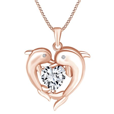 Mother's Day Gift Heart & Round Shape White Cubic Zirconia Heart Frame Double Dolphin Pendant Necklace In 14k Rose Gold Over Sterling Silver