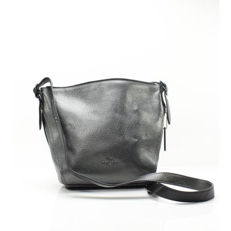 Top Zip Cross Body - Pewter Metallic Top Zip Pebble Leather Crossbody Dufflette One Size