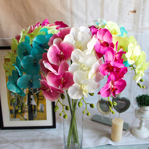 Girl12Queen Artificial Butterfly Orchid Flower 1 Piece Wedding Home Decor Fake Cloth Flower