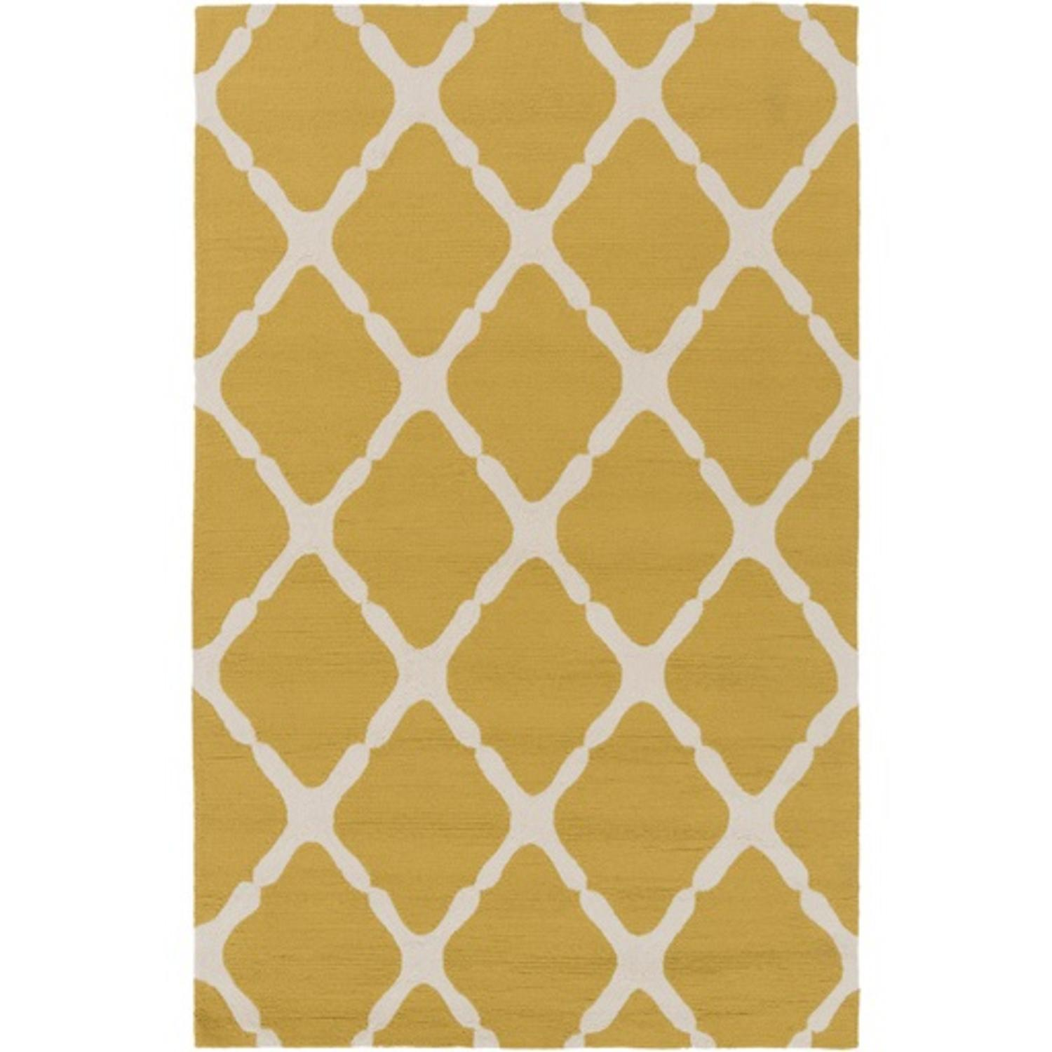 2u0027 X 3u0027 Mending Fences Mustard Yellow And Light Gray Hand Hooked Area Throw