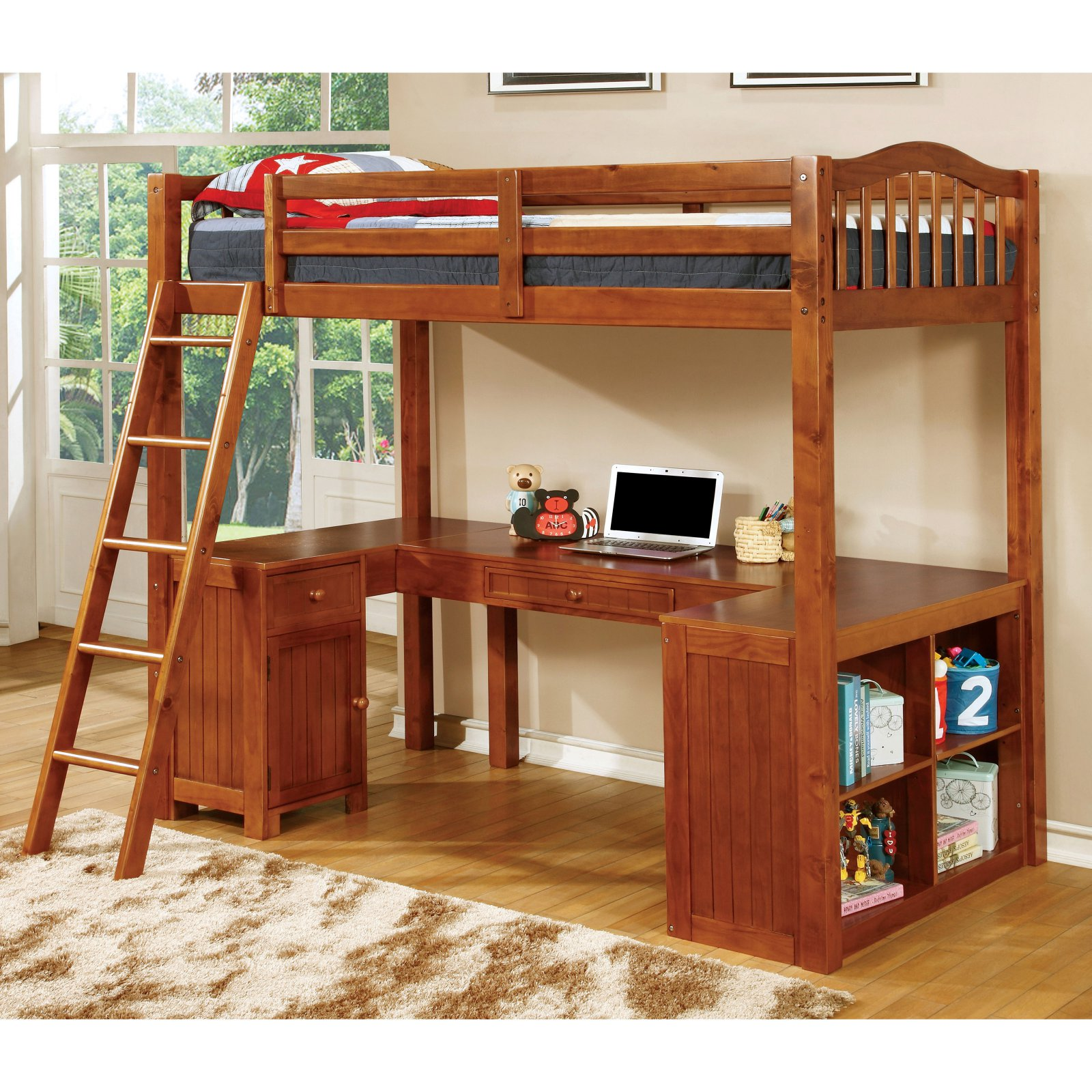 Furniture of America Robbins Loft Bed with Workstation