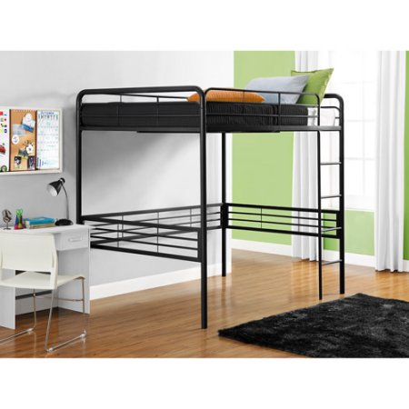 Full Metal Loft Bed, Black with Spa Sensations 6 Memory Foam Mattress
