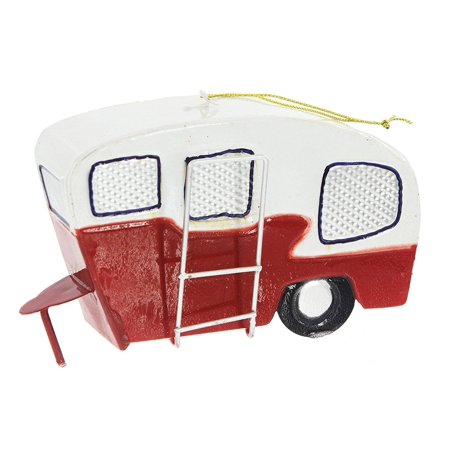 Metal Camping CAMPER Trailer Christmas Ornament, 6