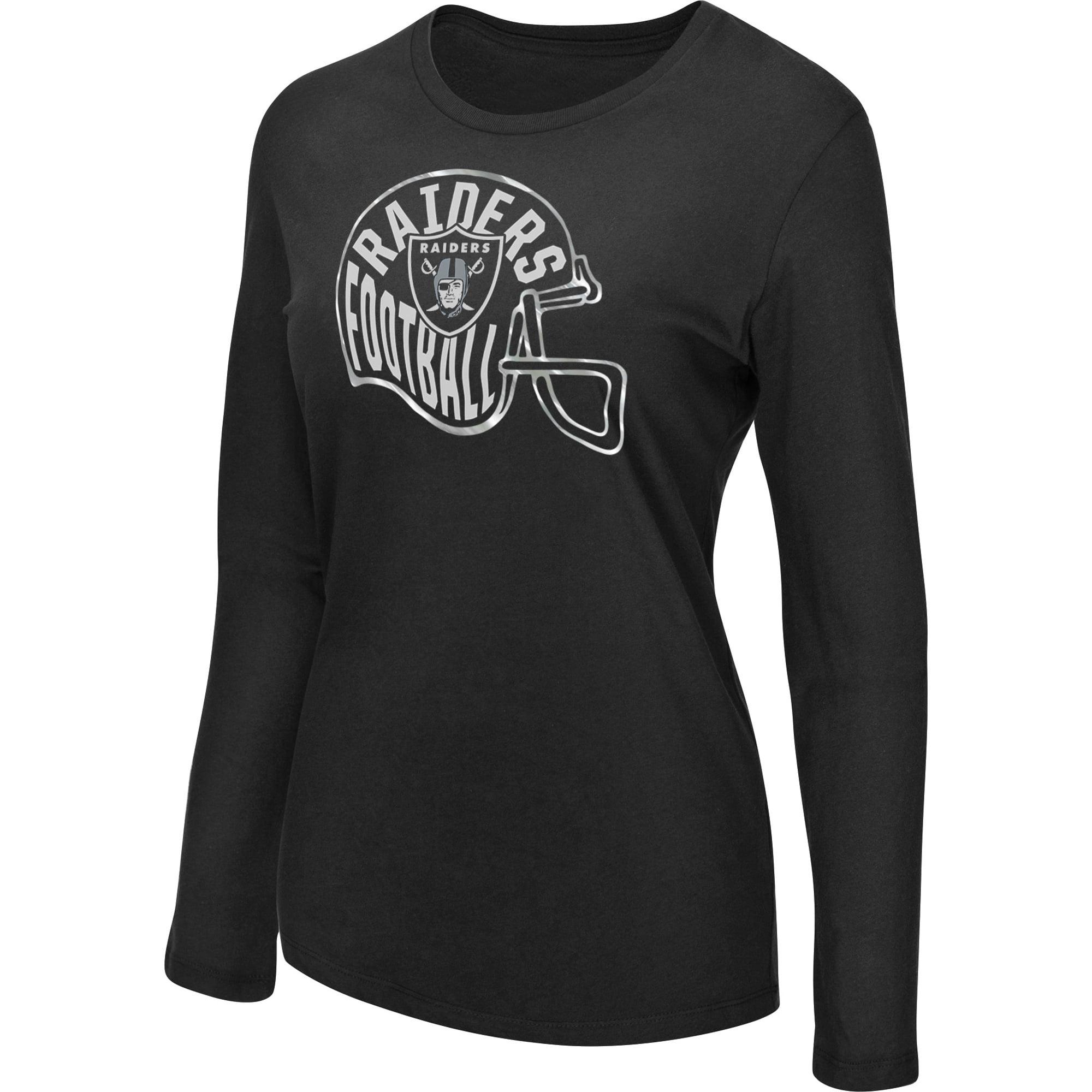 Women's Majestic Black Oakland Raiders Turn it Loose Long Sleeve T-Shirt