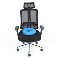 WALFRONT Chair Inflatable Round Pad Hip Support Hemorrhoid Blue Seat Cushion with Pump