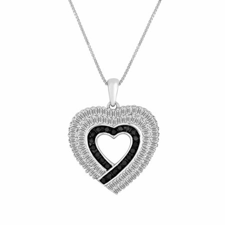 1.00 Carat T.W. Diamond Sterling Silver Fashion Heart Pendant, 18
