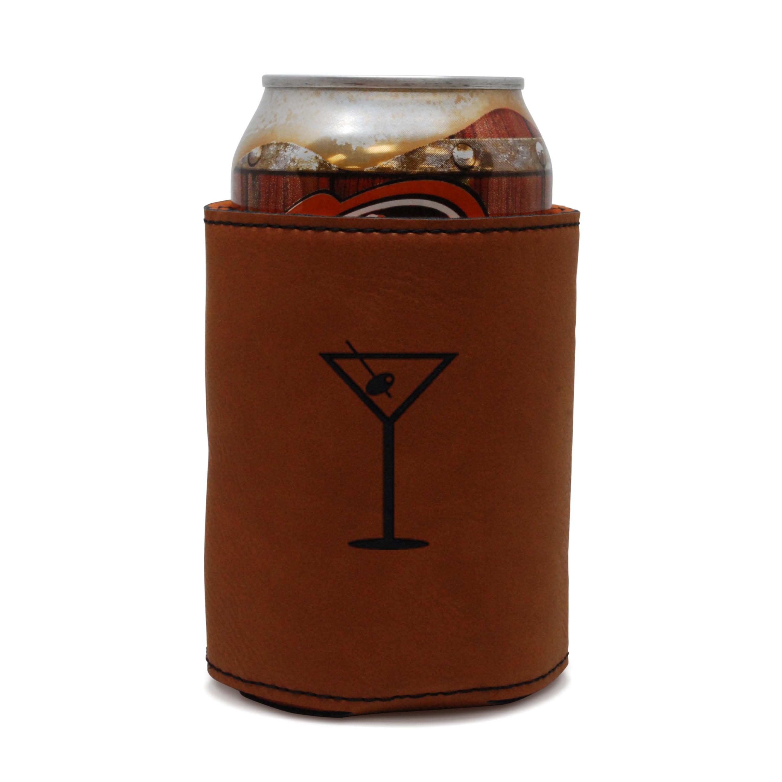 Martini Olive Leather Can Sleeve, Beer Sleeve, Beer Cooler, Beer Hugger by BigSpool Distributors