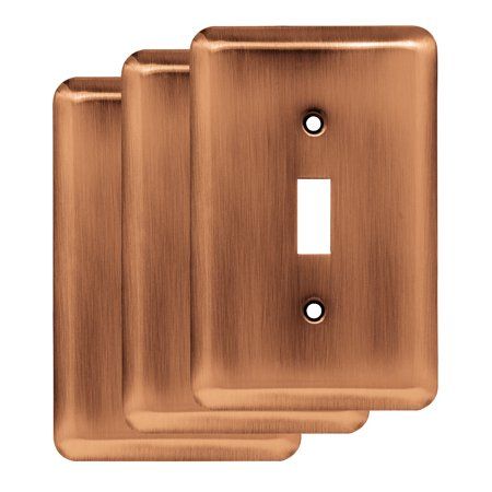 Franklin Brass Stamped Round Single Switch Wall Plate in Antique Copper, 3-Pack