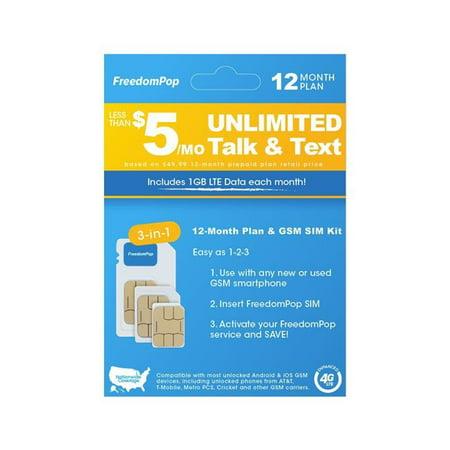 FreedomPop ZMP-USIM-DOTRIVDKT05 SIM Kit 3 in 1 Voice 12 Month Prepaid Plan 3-in-1 LTE SIM Kit
