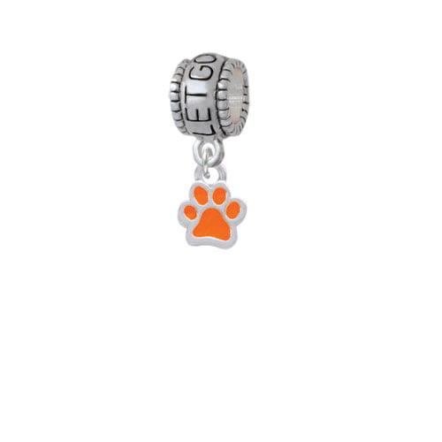Mini Translucent Orange Paw - Let Go Let God Charm Bead