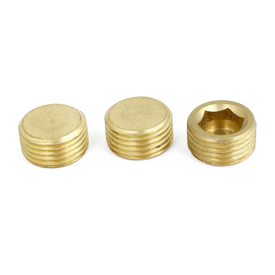 "Brass 1/2"" PT Male Thread Dia Hex Socket Head Pipe Connector Fitting 3pcs - image 1 of 1"