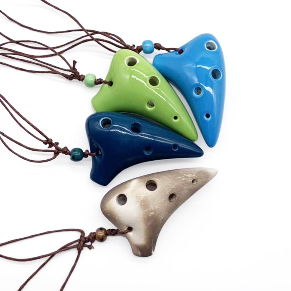 6 trous en c/éramique Ocarina Alto C instrument de musique de style sous-marin avec lani/ère partition de musique pour m/élomane et d/ébutant