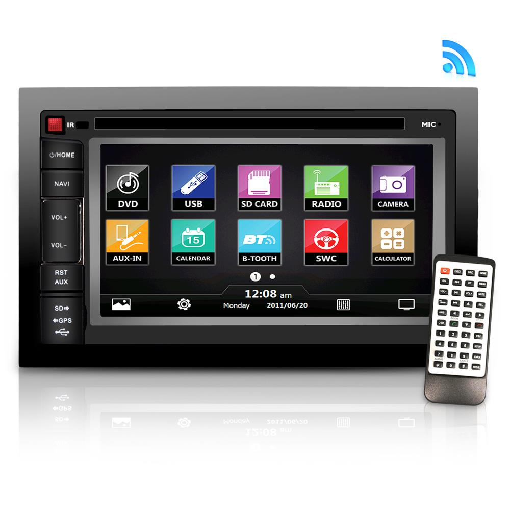 """PYLE SDNV66B - 6.5"""" Video Headunit Receiver, GPS Navigation, Bluetooth Wireless Streaming, CD/DVD Player, Double DIN"""